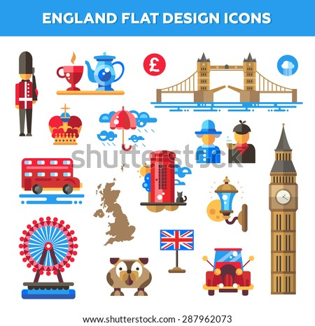 Set of vector flat design England travel icons and infographics elements with landmarks and famous London and United Kingdom symbols  - stock vector
