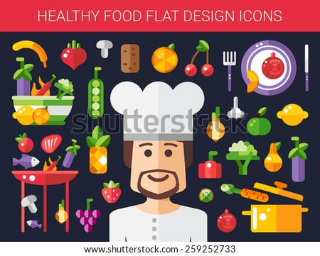 Set of vector flat design fruits and vegetables icons - stock vector