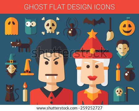 Set of vector flat design ghost icons - stock vector