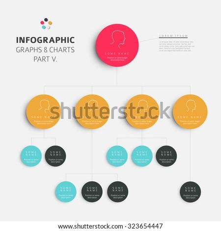 Set of vector flat design infographics hierarchy diagram- fresh retro color version part 5 - stock vector