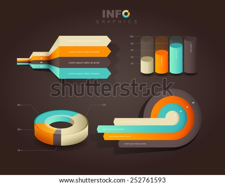 Set of vector flat design infographics statistics charts and graphs - on brown background - stock vector