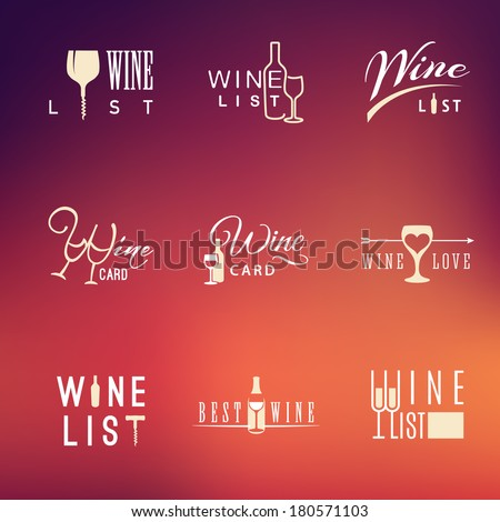 Set of vector flat design wine icons for food and drink - stock vector