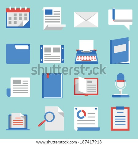 Set of vector flat icons for web and mobile applications. Communications and documents - vector icons - stock vector