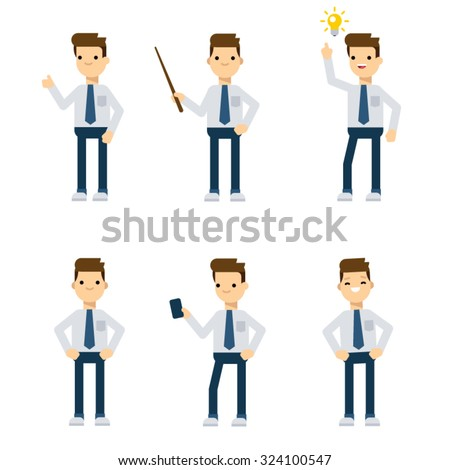 Set of vector flat style characters: office guy in different static poses. - stock vector