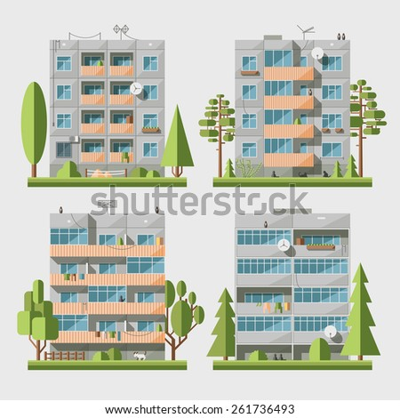 Set of vector flat style facades of panel houses. Classic blocks of flats architectural symbols and design elements. Collection for product promotion and advertising isolated on white background - stock vector