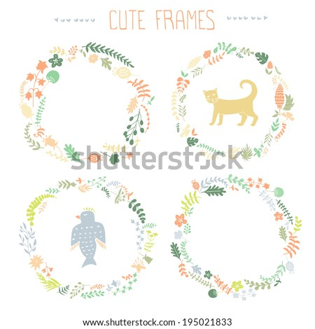 Set of vector floral frames. Cute collection of wreaths made of hand drawn leaves and flowers. Vintage set for invitations. save the date cards and other design.  - stock vector
