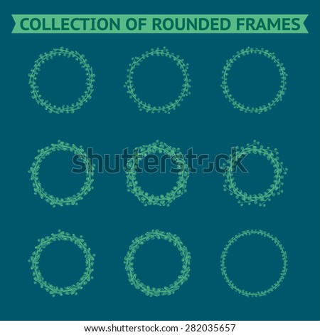 Set of vector floral hand drawn frames. Collection of editable rounded frames on white background. Good for book illustration, card design and menu cover. - stock vector