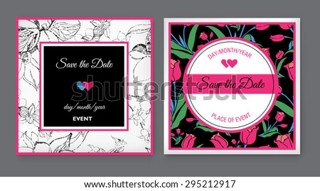 Set of vector floral Save the Date for events design - stock vector