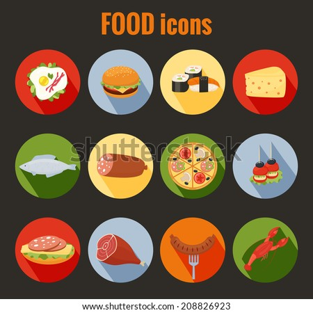 Set of vector food icons on colorful round buttons depicting roast meat  fish  egg  cheeseburger  pizza  cheese  salami  sandwich  sausage and lobster for use as design elements in menus - stock vector