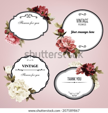 Set of vector frames with peonies, watercolor, can be used as greeting card, invitation card for wedding, birthday and other holiday and  summer background - stock vector