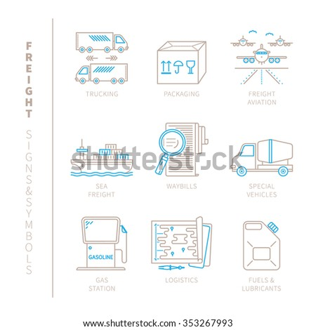 Set of vector freight icons and concepts in mono thin line style - stock vector