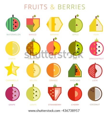 Set of vector fruits and berries, flat icons design collection - stock vector