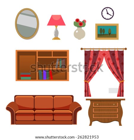 set of vector furniture .Furniture and Home Accessories - Set of design elements, including bookshelf, sofa and home decoration - stock vector