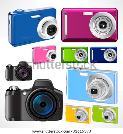Set of 9 vector futuristic camera. - stock vector
