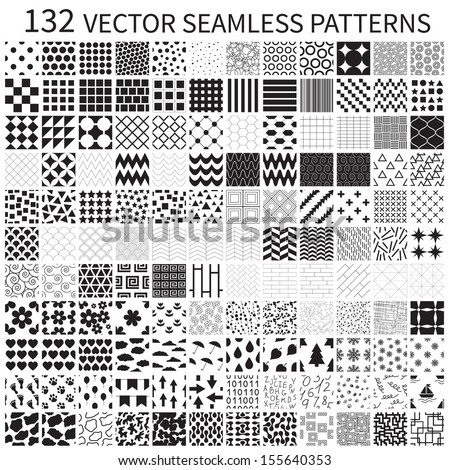 Set of vector geometric, polka dot, floral, decorative patterns. - stock vector