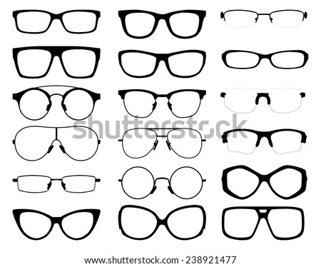 set of vector glasses on white background - stock vector