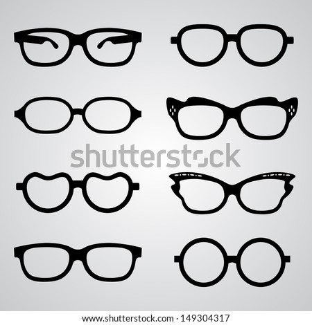 Set of vector glasses set with black thick holder retro hipster. Medical huge eye glasses silhouette collection. Sign of intelligence, secretary or school teacher - stock vector