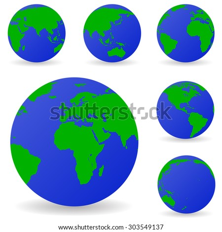 Set of vector globe icons showing earth with all continents - stock vector