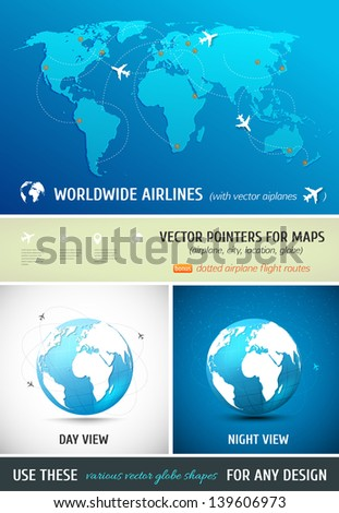 Set of vector globes and maps - stock vector