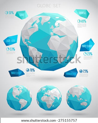 Set of vector globes - geometric modern style - stock vector