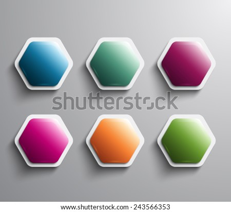 Set of vector glossy hexagonal banners with plastic style for business. Clean and modern design - stock vector