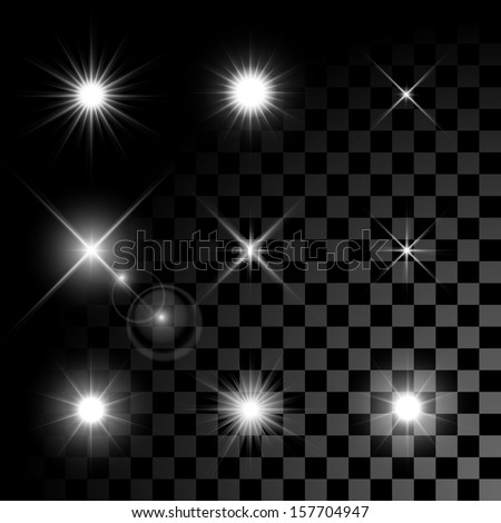 Set of Vector glowing light effect stars bursts with sparkles on transparent background. Transparent stars. - stock vector