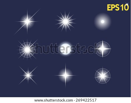 Set of Vector glowing light effect stars bursts with sparkles. vector illustration - stock vector