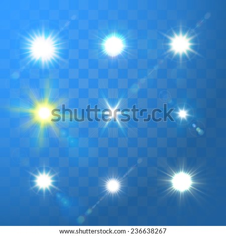 Set of Vector glowing sun light effect with sparkles on blue transparent background.  - stock vector
