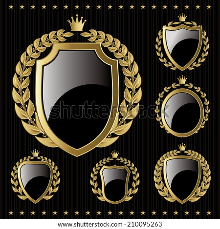 set of vector golden emblem with shield and wreaths - stock vector