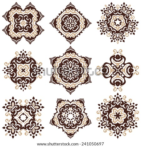 set of vector graphic abstract ornamental designs - stock vector
