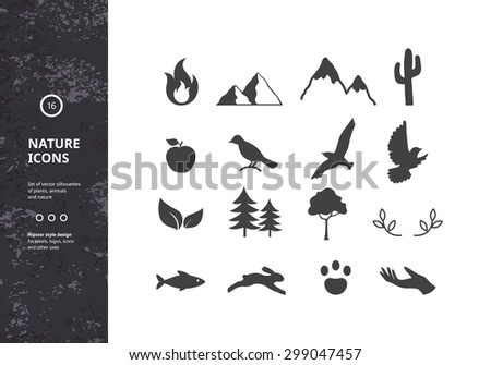 Set of Vector Graphic Icons. Collection of Silhouettes of Plants, Animals and Nature. Hipster Style Design for Labels, Tags, Logos, Badges and Stickers. - stock vector