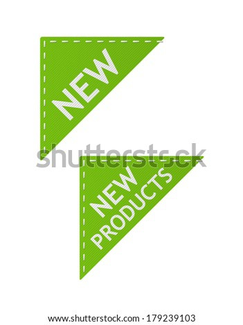 set of vector green new signs on piece of textile - stock vector
