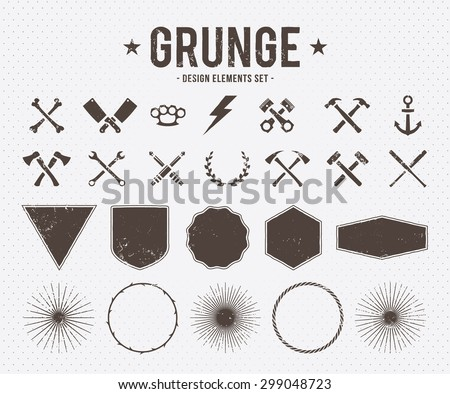 Set of vector grunge design elements: tools, shapes, signs and symbols. - stock vector