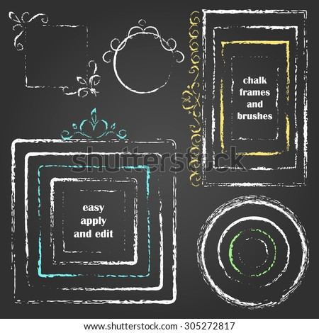 Set of vector grungy chalk design elements. Round and square frames with hand drawn decor. Chalk art brushes included. Easy edit color and apply to any path, write and draw. - stock vector