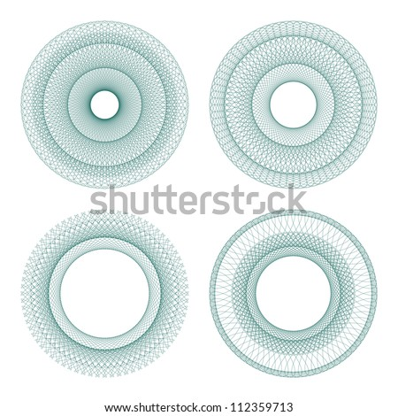 Set of vector guilloche rosettes certificate or diplomas, decorative elements - stock vector