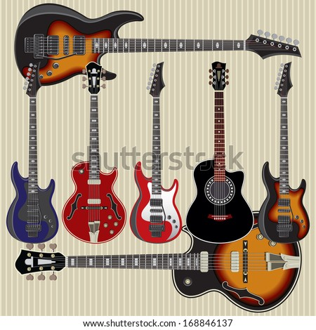 set of vector guitars on striped background - stock vector