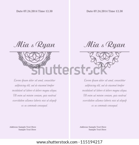 Set of Vector Half Ornament Frame. Background of color of a lavender. Grouped for easy editing. Perfect for invitations or announcements. - stock vector