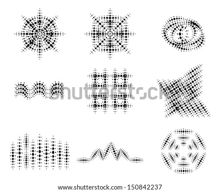 Set of vector halftone pattern - stock vector