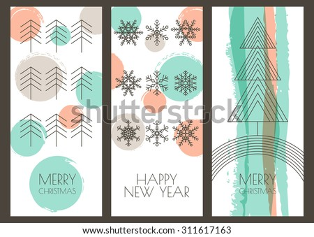 Set of vector hand drawn Christmas, New Year greeting cards. Linear illustration of snowflakes, fir tree and watercolor background. Hipster style design for winter holiday, flyer, invitation, banner. - stock vector