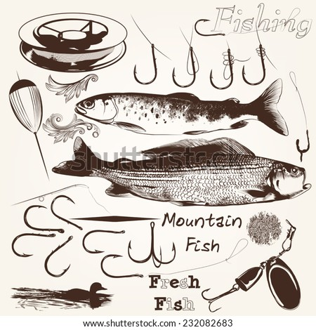 Set of vector hand drawn fishes and hooks for fishing season design - stock vector