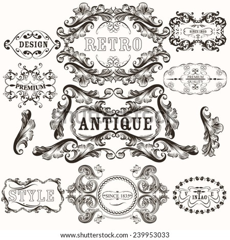 Set of vector hand drawn frames in vintage style - stock vector