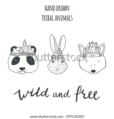 Set of vector hand drawn indian elements: animals - panda, rabbit, wolf, lettering sing wild and free. - stock vector