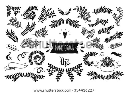 Set of vector handdrawn elements, floral doodle collection. Decoration branches for design invitation, wedding cards, valentines day - stock vector