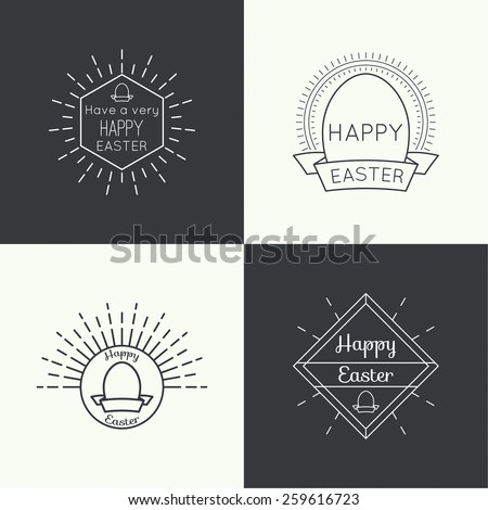 Set of vector hipster logo, badge, monogram, banner, insignias with a geometric symbol and Easter egg. - stock vector