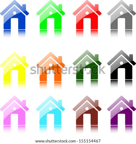 set of vector home icon design with isolated on white. - stock vector