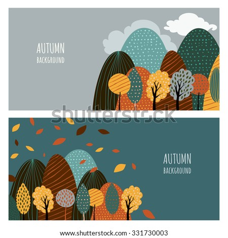 Set of vector horizontal banners with place for text. Doodle flat illustration of mountain landscape and autumn yellow trees. Creative nature hand drawn background. - stock vector