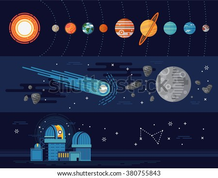 Set of vector horizontal web banners templates on astronomy science and education. Solar system planets, celestial bodies with Sun, Earth and more. Planetarium, galaxy exploration items in flat design - stock vector