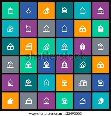 Set of vector house icon - stock vector