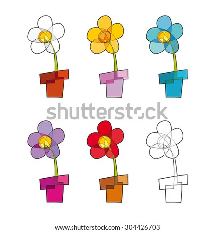 Set of vector icon of a flower-pot in five colors and one blank. The design consists of a single closed line and the shapes that it creates, both placed on separate groups. EPS-10  - stock vector