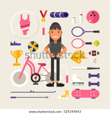 Set of Vector Icons and Illustrations in Flat Design Style. Female Cartoon Character Sportsman Surrounded by Sports Equipment - stock vector